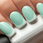 Elegant Nails. Mint with white tips.