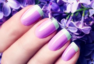 French manicure with lilac base and mint tips.