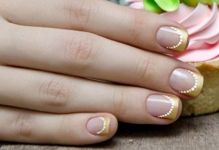 Golden French Manicure.