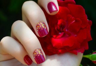 Red with gold glitter.
