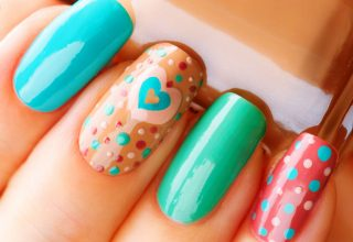 Hearts and multicolored dots.