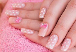 Nails with bows.