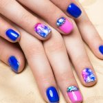 Blue.pink and purple nail art.