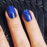Blue cracked effect Nails.