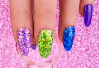 Colorful glitter nails.