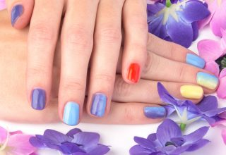 Ombre across the nails.