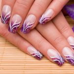 Violet with flowery pattern.