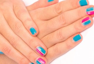 Nails in claret and blue.