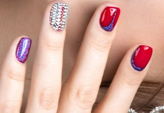 Sparkles with red and blue.