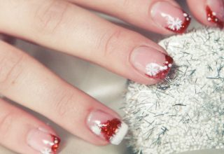 With snowflakes and red glitter.