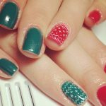 Red and green nails.