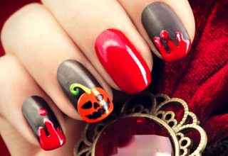 Nail art with pumpkin.