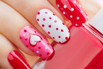 Valentine nails for girls.