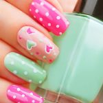Pink and mint hearts.