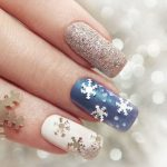 Winter Scene Christmas Nail Designs.