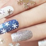 Snowflakes with blue white and silver.