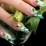 Pointy and Green Floral Nails.