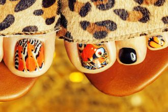 Tiger print nail art.