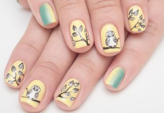 Ombre pinkies and an owl picture.