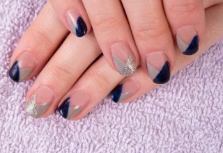 Silver and navy blue overlapping pattern.