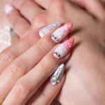 Pink swirls and jewels.