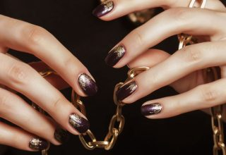 Ombre with gold and purple.