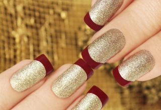 Gold Glitter with Red Tips.