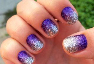 Ombre nails in purple and silver.